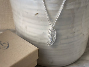 Sterling Silver Feather Pendant Necklace Tiger Lily London