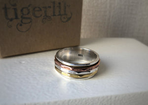 Brass, Copper and Sterling Silver Hammered Spinning Ring Tiger Lily London