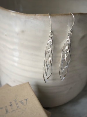 Silver Double Spiral Dangling Earrings
