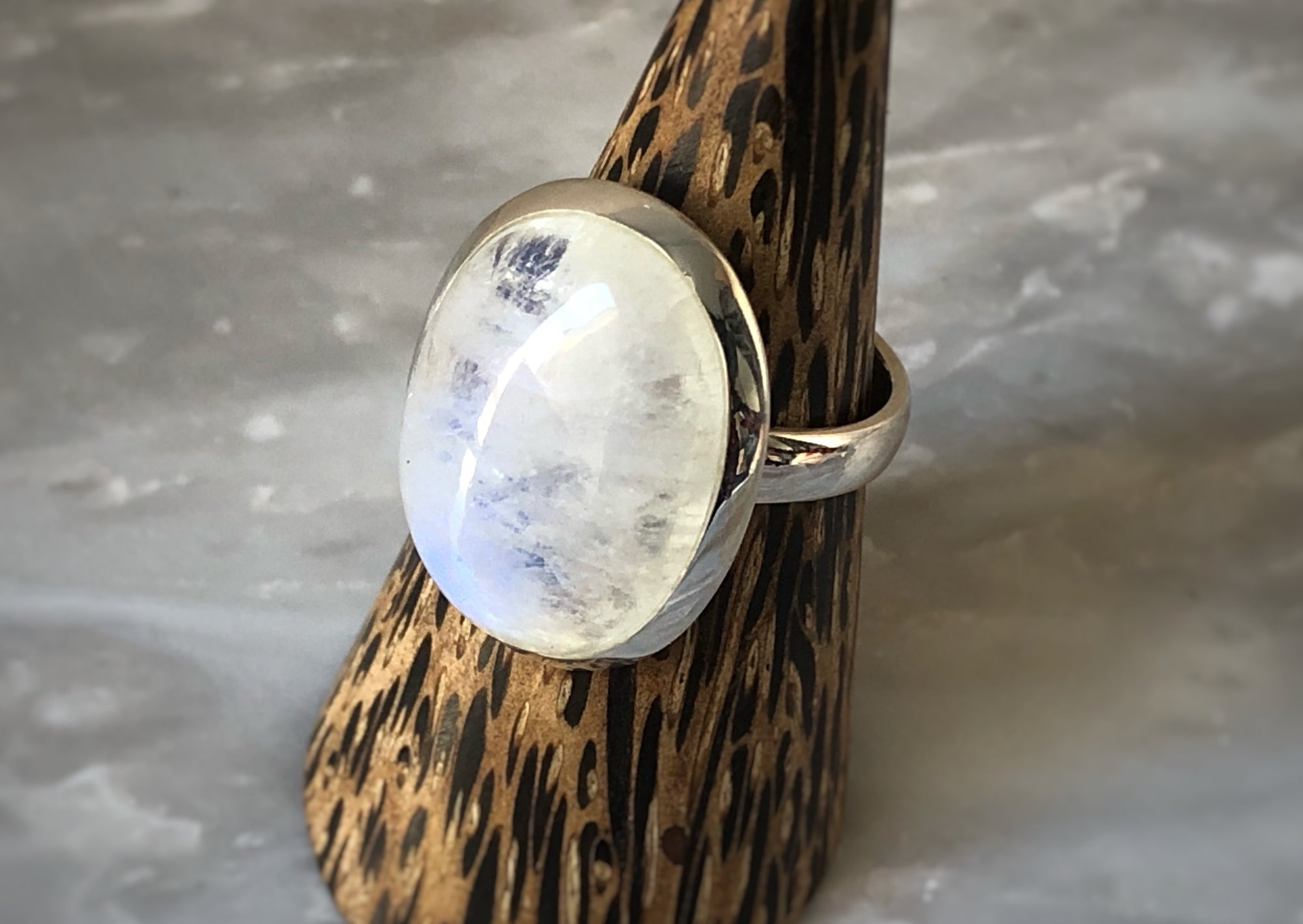 Large Moonstone Sterling Silver Ring Tiger Lily London