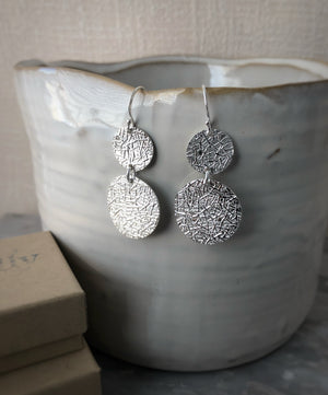 Sterling Silver Double Etched Disc Earrings Tiger Lily London
