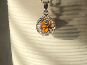 Baltic Amber Sterling Silver Filigree Pendant Necklace