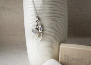 Moonstone Sterling Silver Branch Pendant Necklace Tiger Lily London