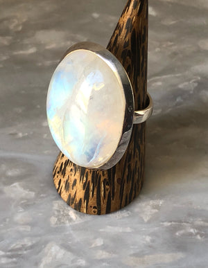 Extra Large Moonstone Sterling Silver Ring Tiger Lily London