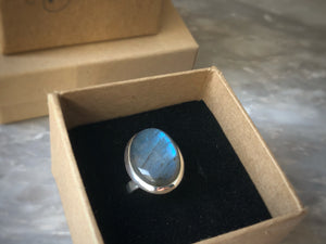 Large Labradorite Sterling Silver Ring Tiger Lily London