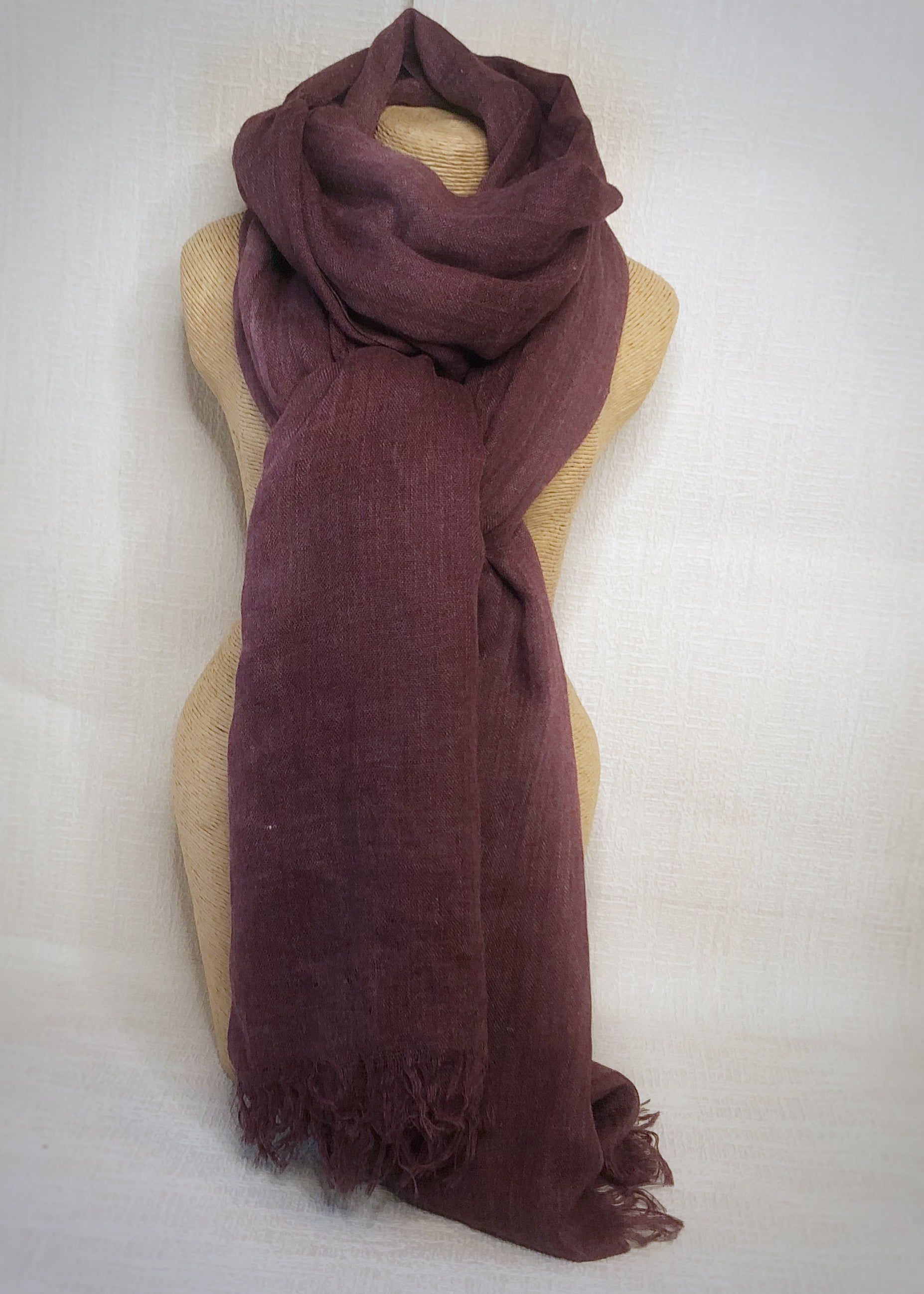 Plum Wool Cotton Scarf