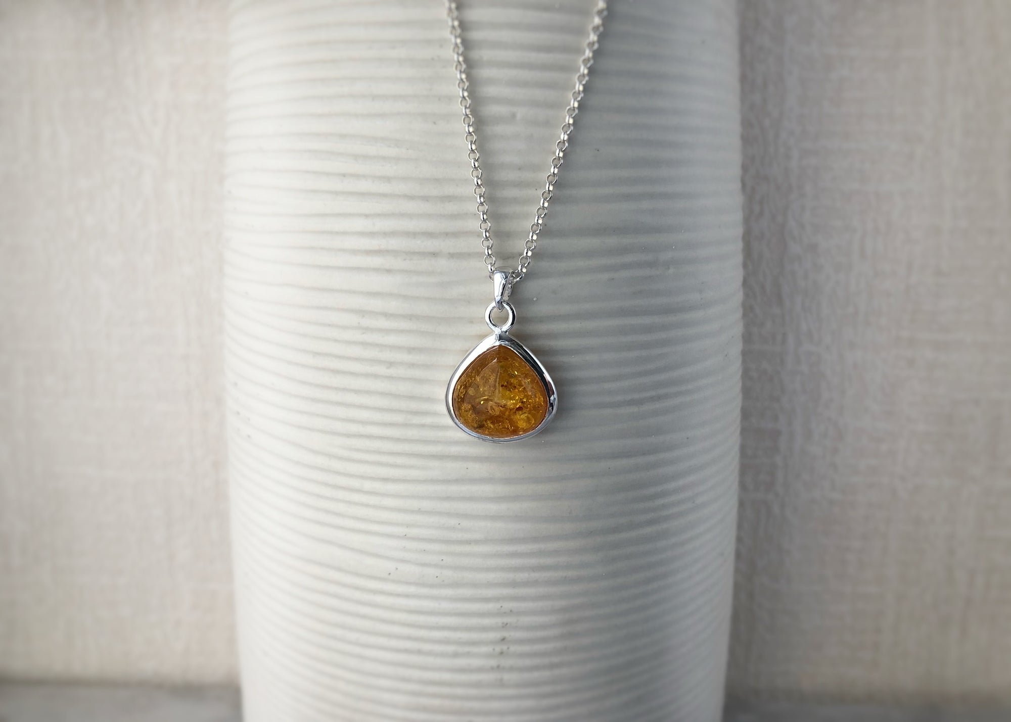 Baltic Amber Sterling Silver Drop Pendant Necklace Tiger Lily London