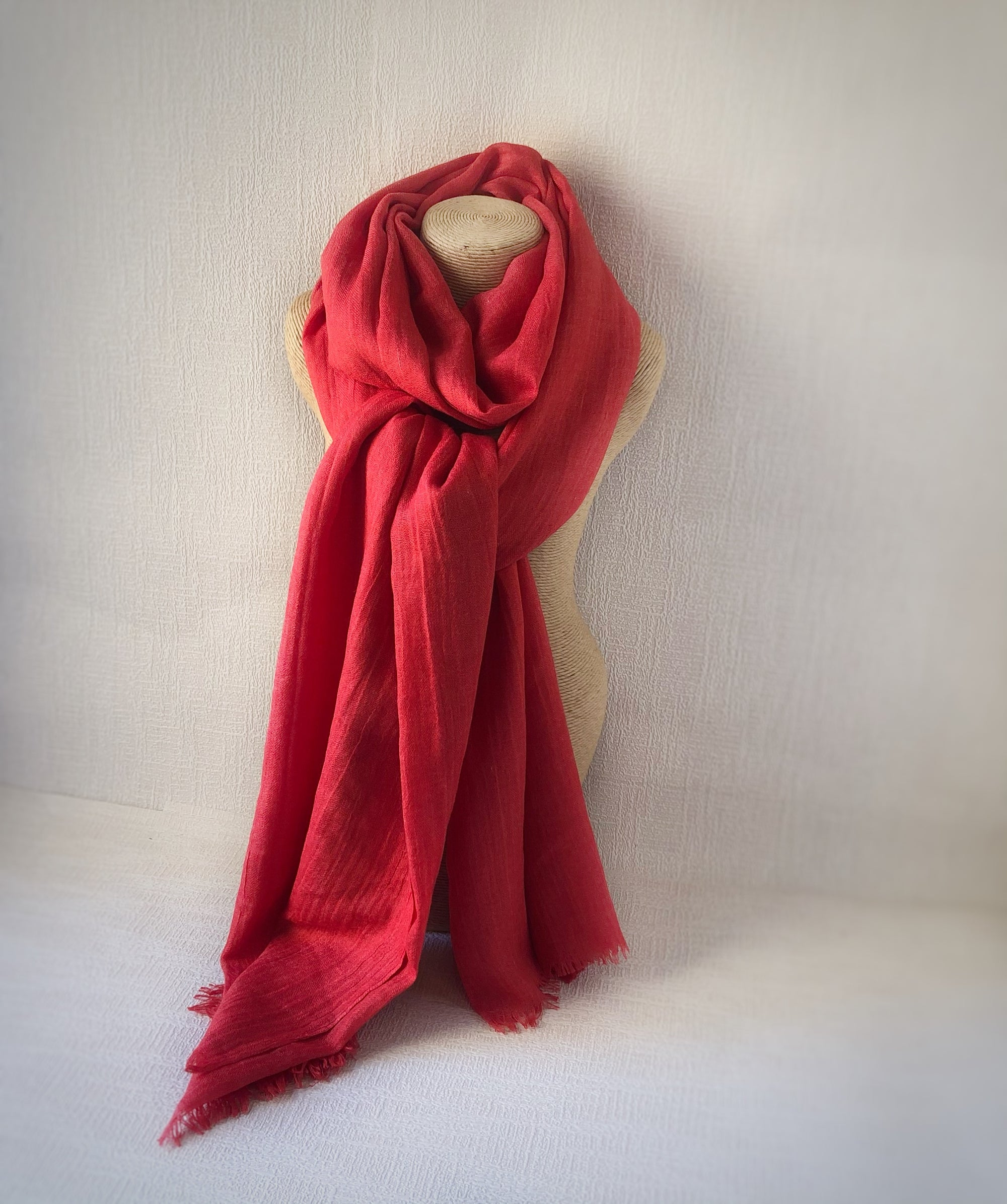 Poppy Red Wool Cotton Scarf