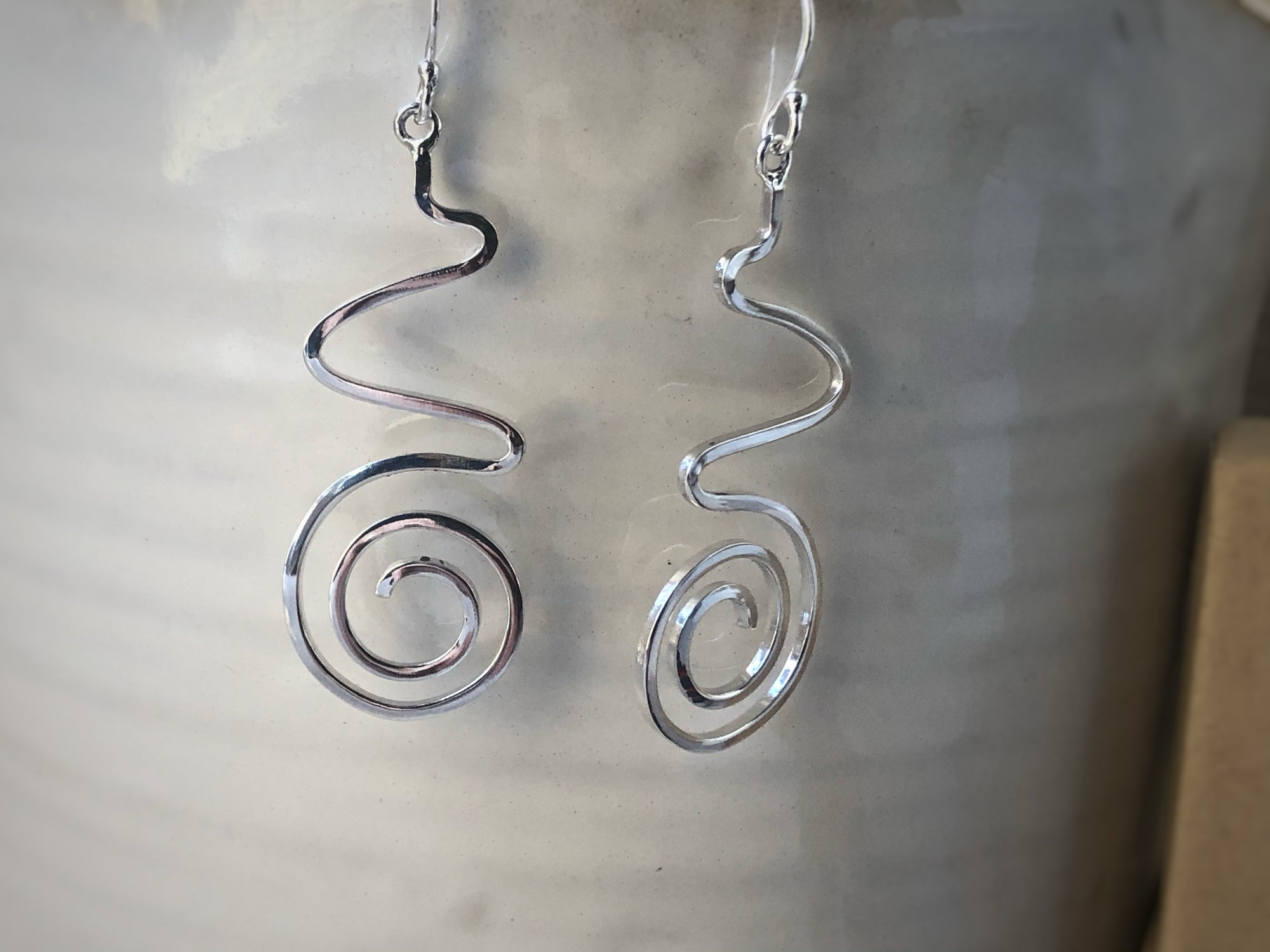 Sterling Silver Aztec Spiral Earrings Tiger Lily London