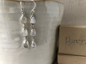 Triple Teardrop Moonstone Silver Earrings