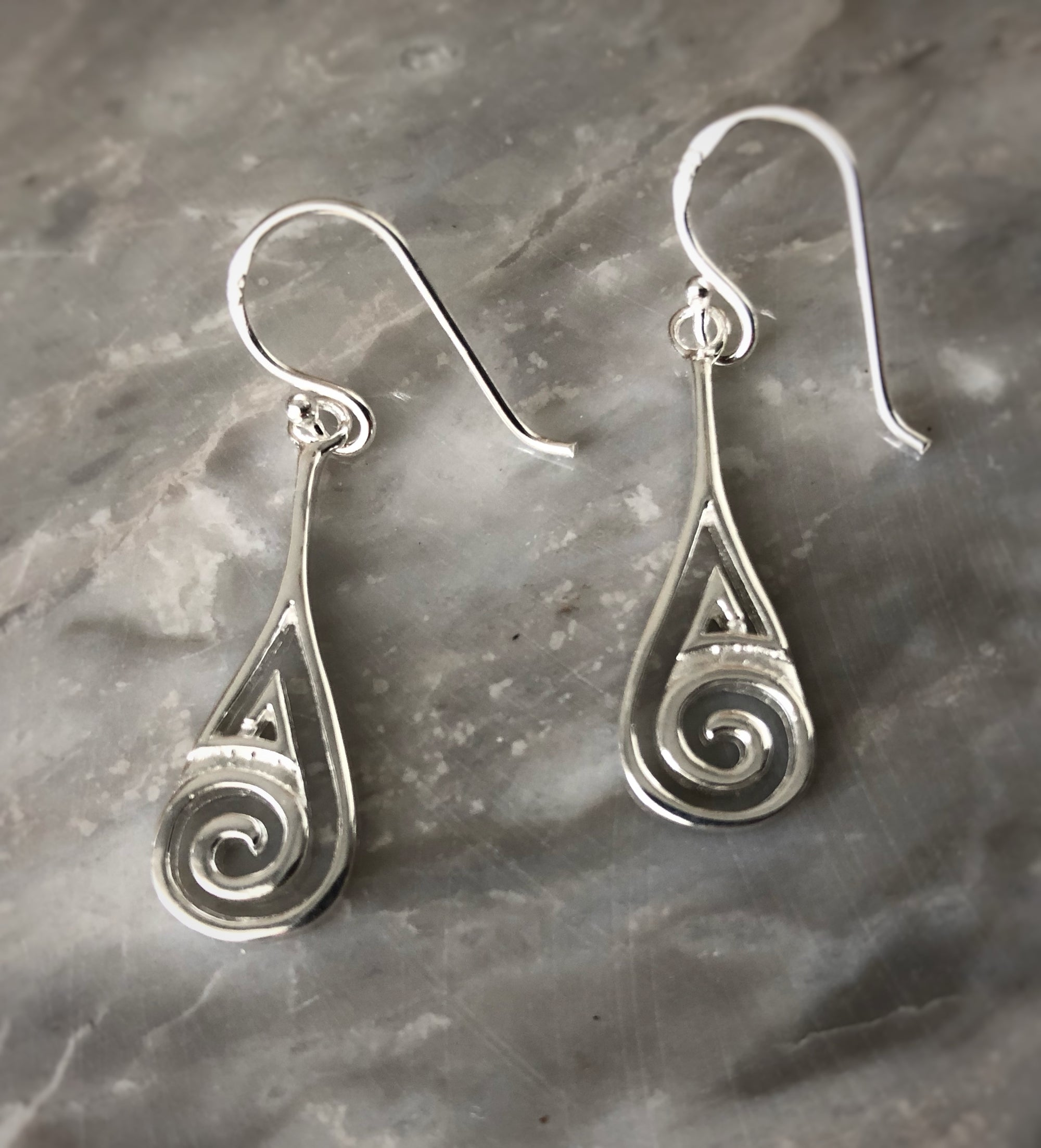 Silver Ammonite Spiral Earrings