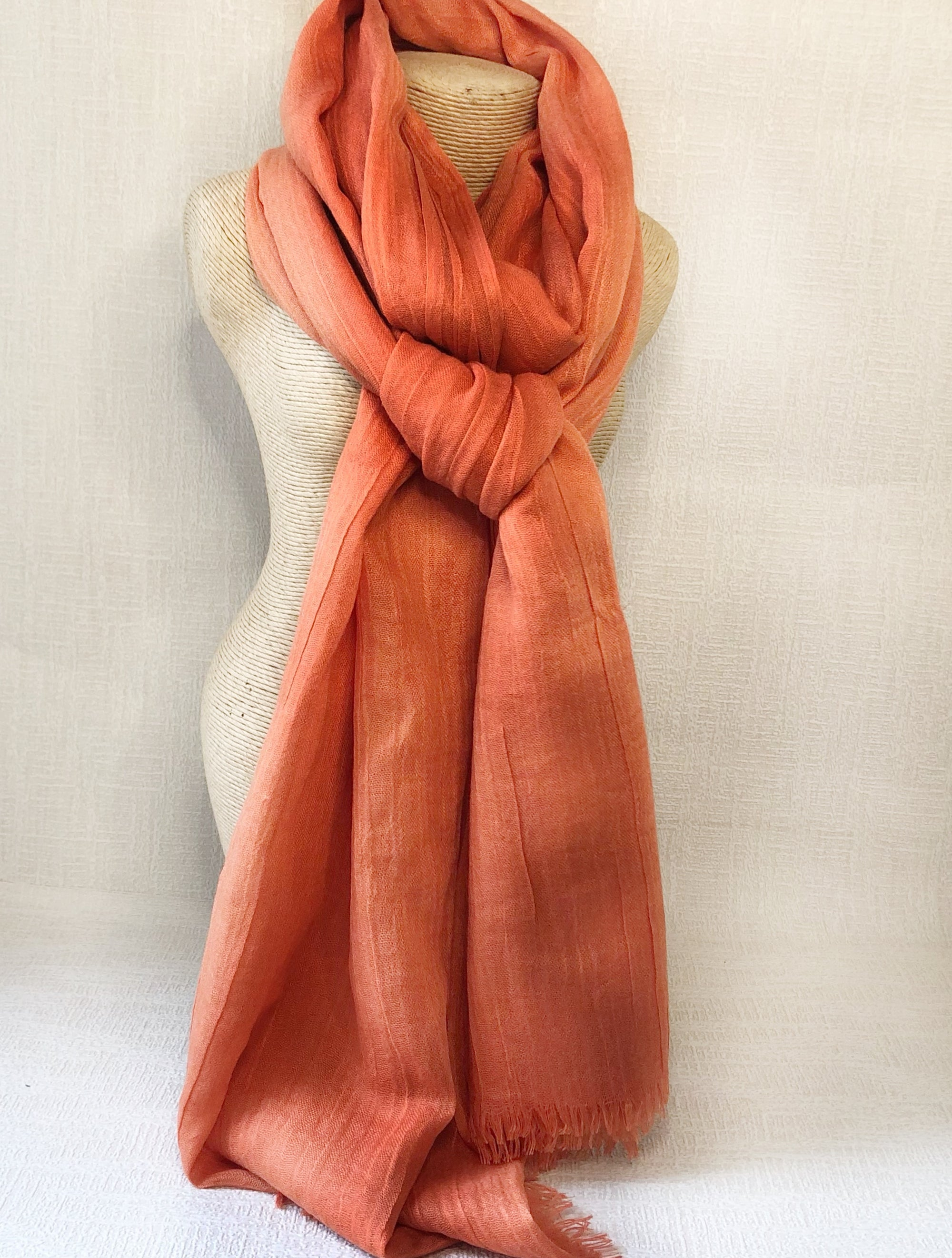 Burnt Orange Wool Cotton Scarf