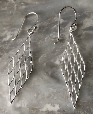 Sterling Silver Rhombus Mesh Earrings Tiger Lily London