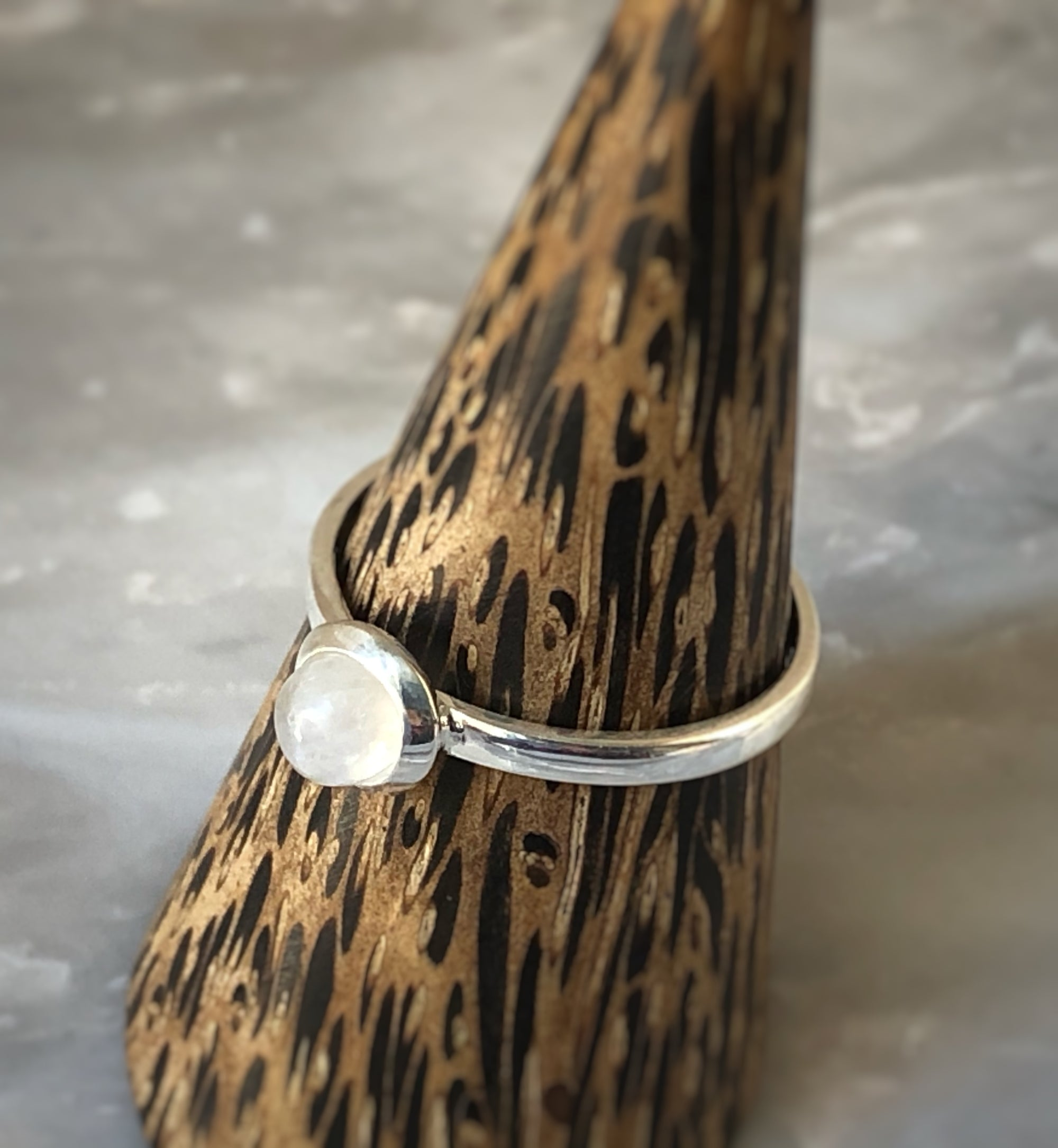 Small Moonstone Sterling Silver Ring