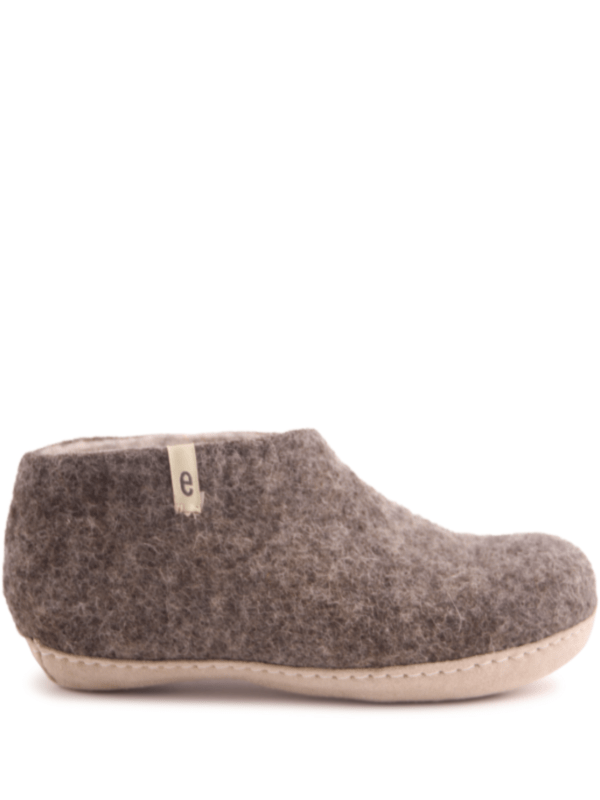 Natural Brown Felt Slipper Shoes