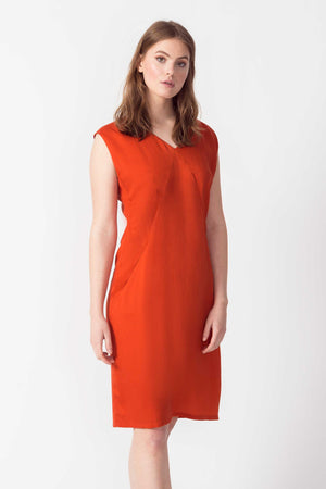 SKFK Zerua Tencel Dress in Burnt Orange