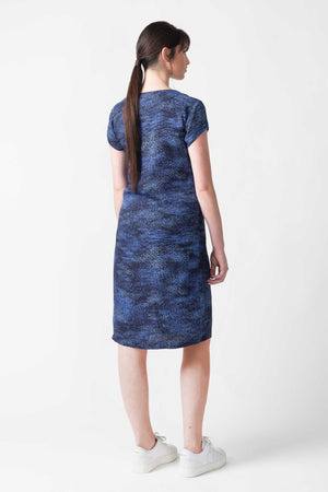 Blue Spray Print Ecovero Dress