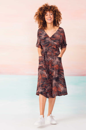 Spray Print Flowing Nahikari Ecovero Dress