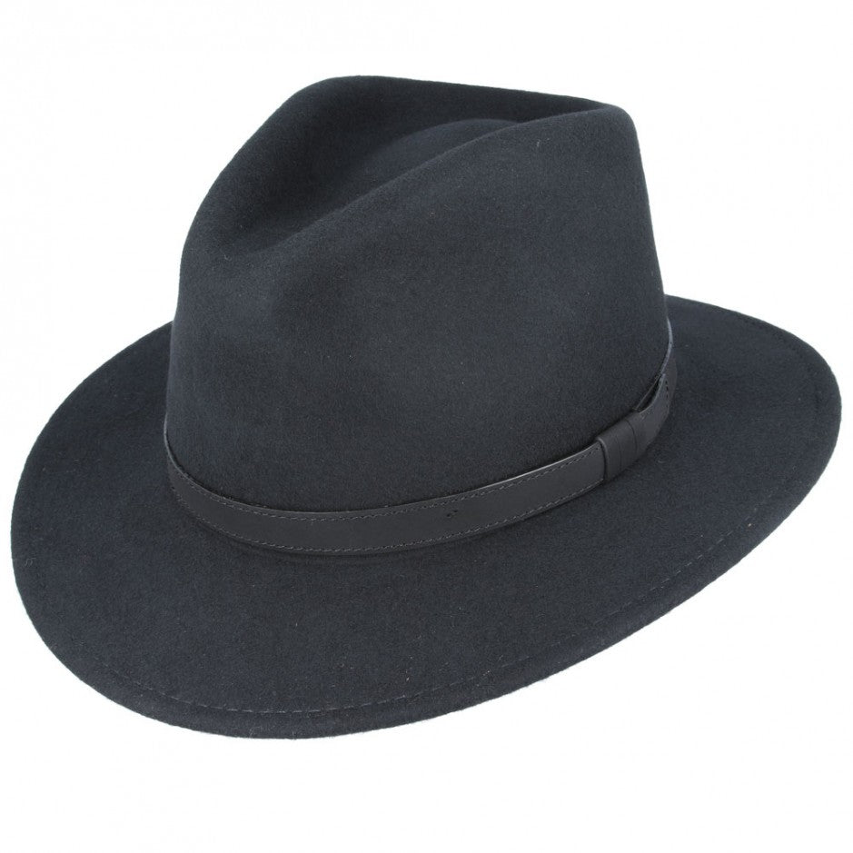 Black Crushable Fedora Wool Hat by Tiger Lily London