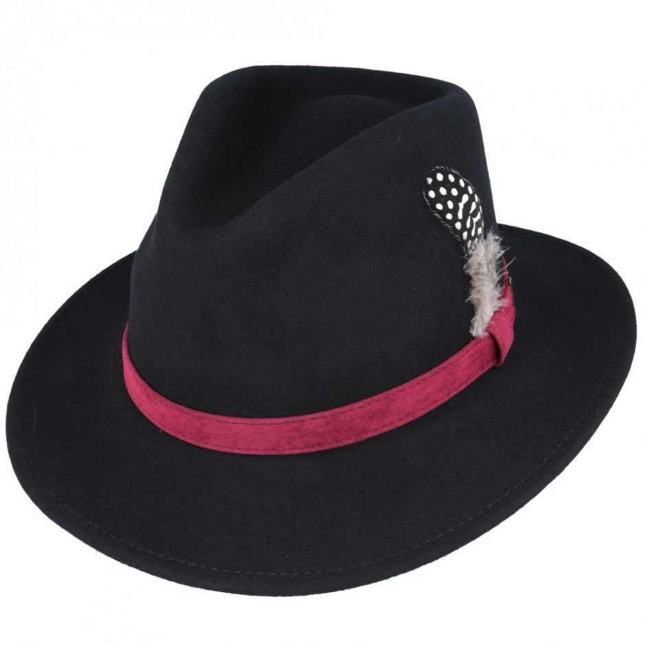 Black Crushable Fedora Wool Hat With Feather