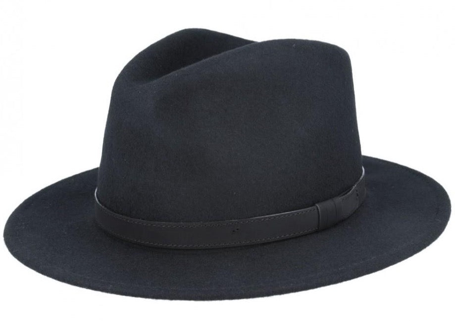 Black Crushable Fedora Wool Hat