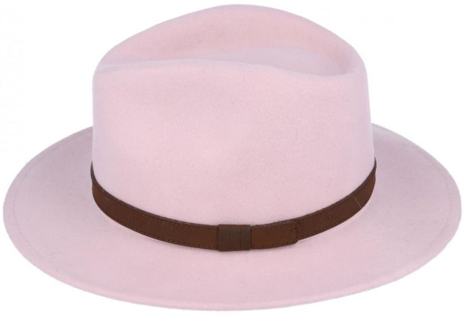 Baby Pink Crushable Fedora Wool Hat