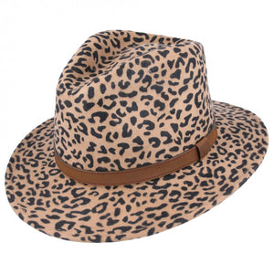 Leopard Crushable Fedora Wool Hat by Tiger Lily London