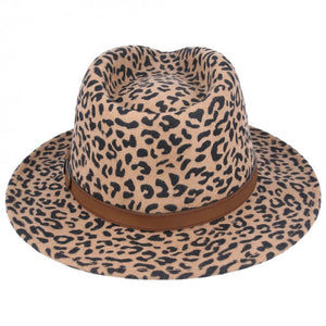 Leopard Crushable Fedora Wool Hat