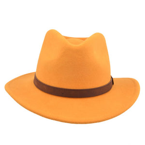 Mustard Yellow Crushable Fedora Wool Hat by Tiger Lily London