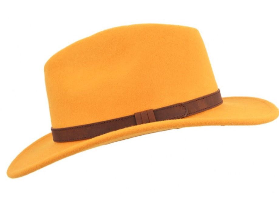 Mustard Yellow Crushable Fedora Wool Hat