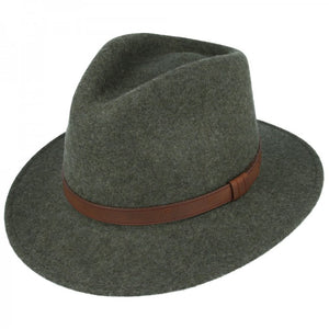 Green Crushable Fedora Wool Hat