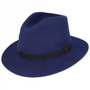 Navy Blue Crushable Fedora Wool Hat