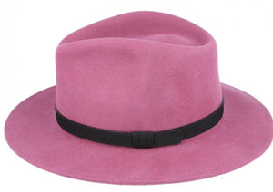 Raspberry Pink Crushable Fedora Wool Hat