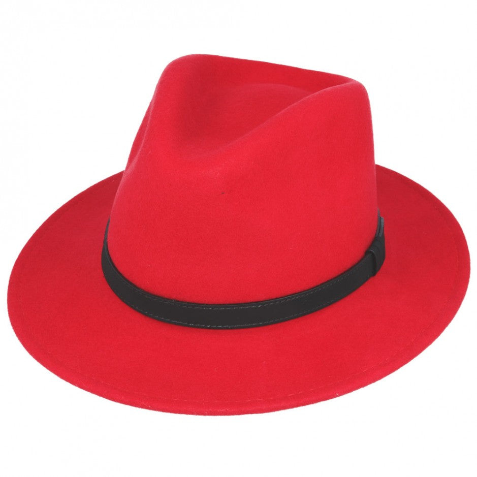 Red Crushable Fedora Wool Hat
