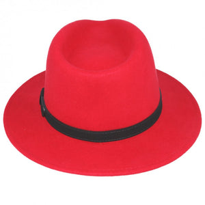 Red Crushable Fedora Wool Hat by Tiger Lily London