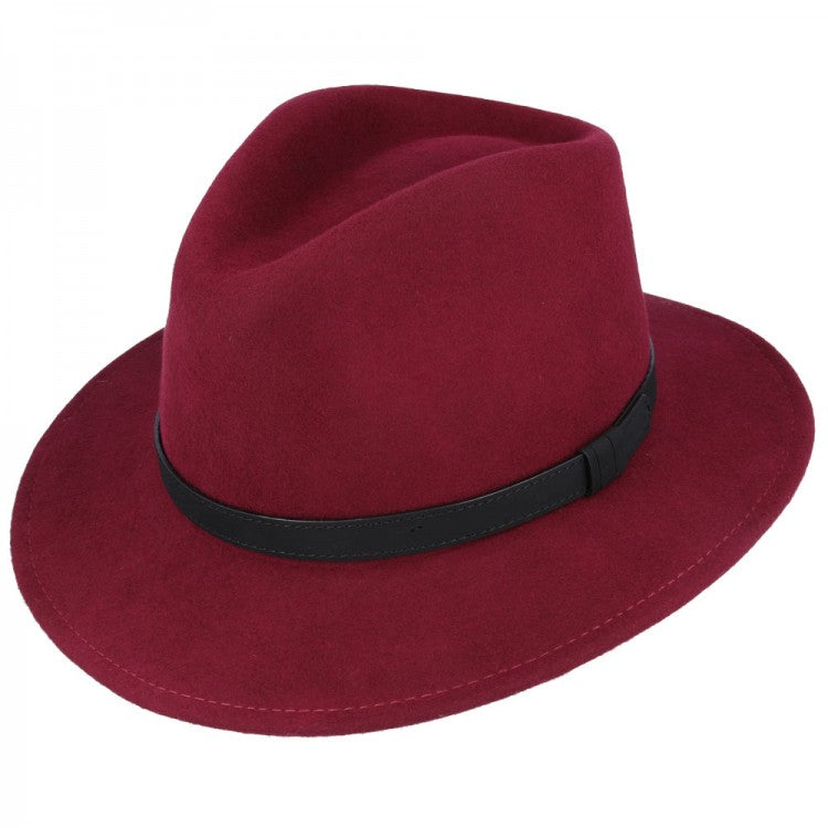 Wine Red Crushable Fedora Wool Hat