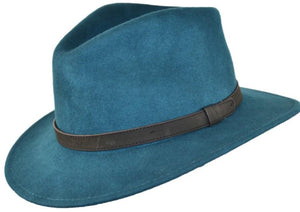 Teal Green Crushable Fedora Wool Hat by Tiger Lily London