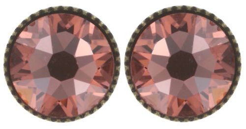 Pink Black Jack Flat Stud Earrings