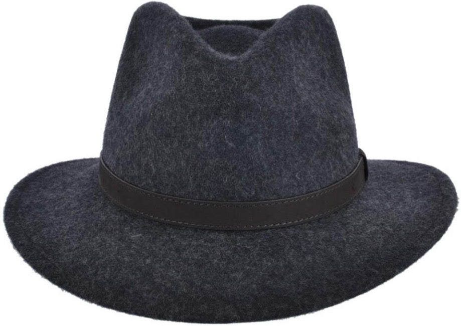Charcoal Crushable Fedora Wool Hat