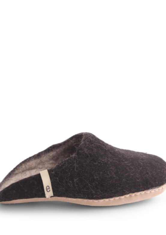 Black Felt Slippers
