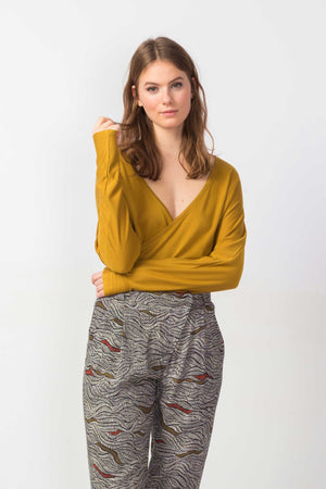 Mustard Tencel V-Neck Long Sleeved Top