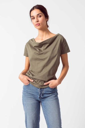 Khaki Green Organic Cotton Short Sleeved T-Shirt