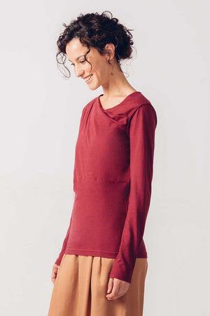 Burgundy Organic Cotton Long Sleeved T-Shirt