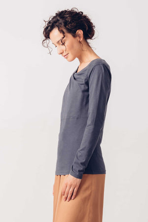 Blue Organic Cotton Long Sleeved T-Shirt