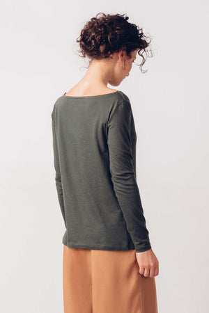 Dark Green Organic Cotton Long Sleeved T-Shirt