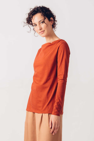 Terracotta Organic Cotton Long Sleeved T-Shirt
