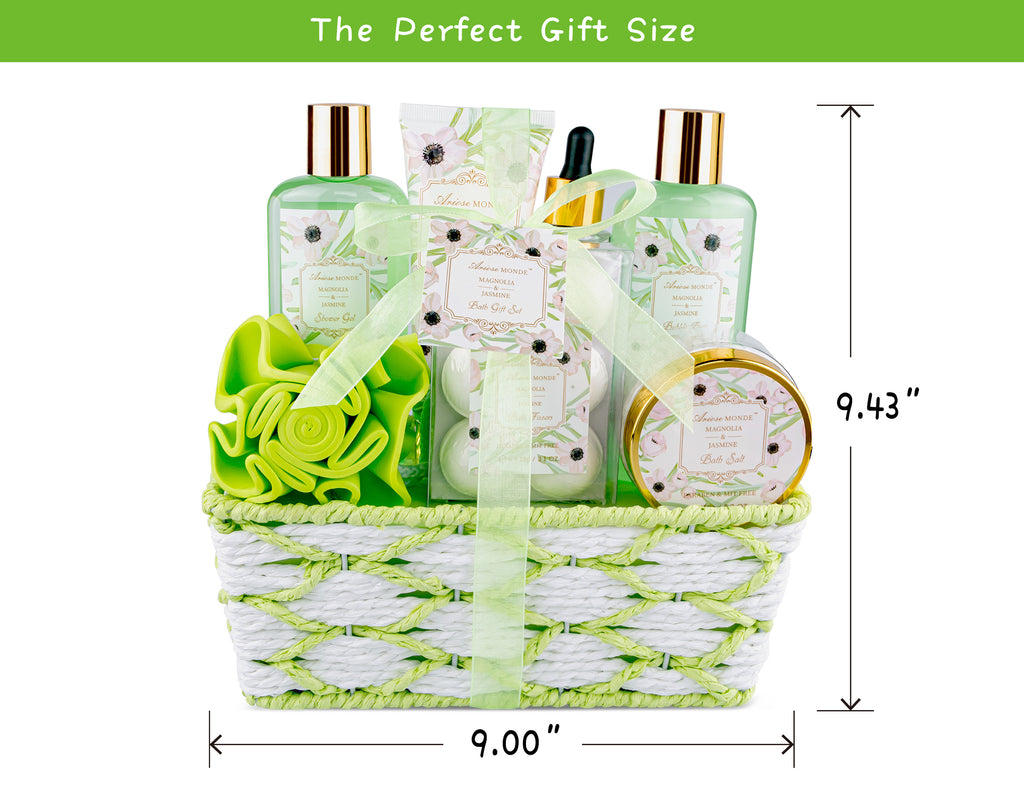Bath Spa Basket Gift Set for Women, with Magnolia & Jasmine Scent, 8 Pcs