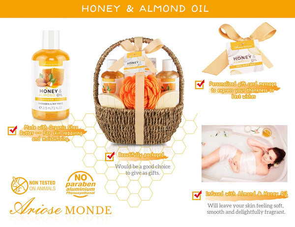 HONEY ALMOND BATH SPA GIFT BASKET - ariosemondegift