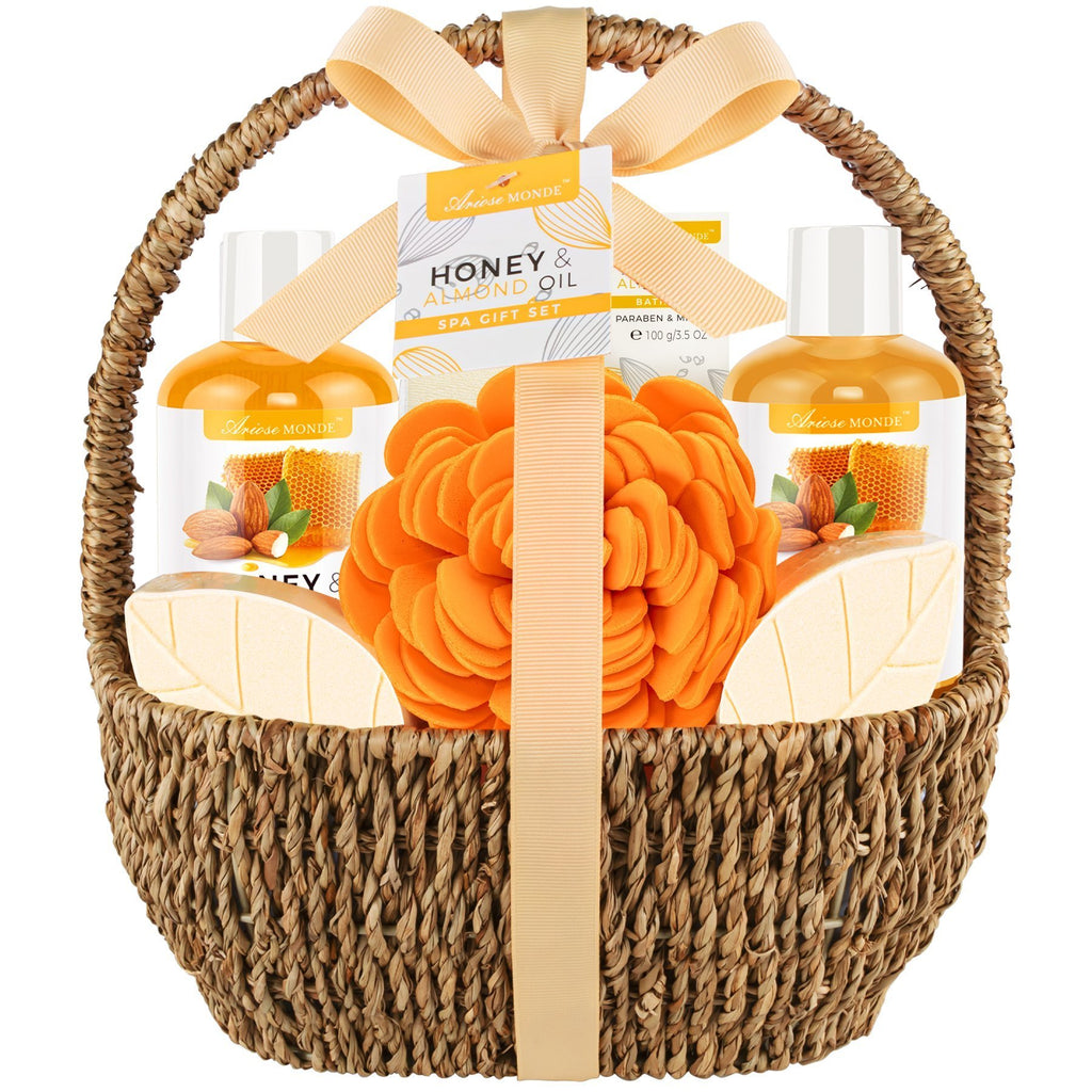 Mother's Bath Spa Gift Basket, Honey & Almond 8pcs - ariosemondegift