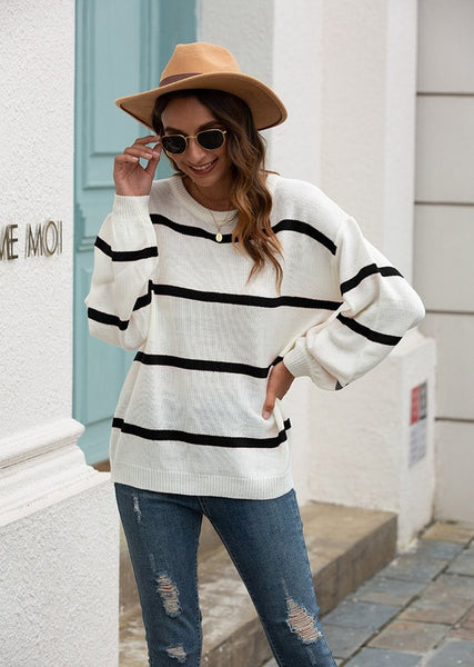 New Striped Round Neck Long Sleeve Color Block Pullover Knitted Sweater Tops For Women